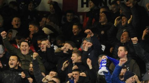 Hartlepool United fans in the stand