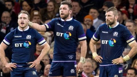 Stuart Hogg, Ryan Wilson and John Barclay look frustrated during Scotland's Six Nations defeat by Wales