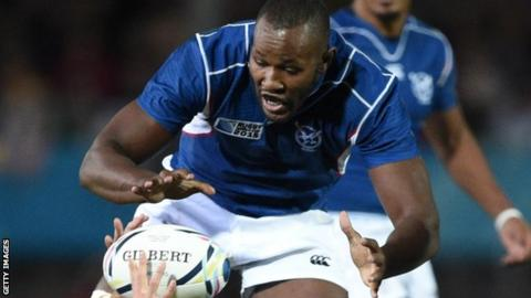 Tjiuee Uanivi for Namibia against Georgia at the 2015 Rugby World Cup
