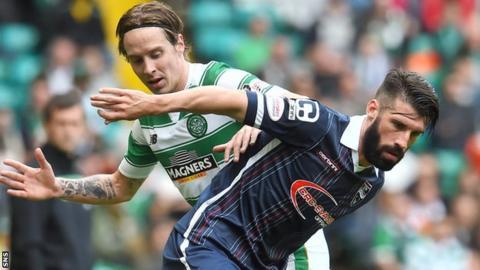 Celtic's Stefan Johansen and Ross County's Rocco Quinn