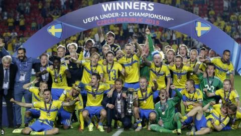 Sweden celebrate their European Under-21 Championship final win