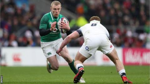 Ireland's Keith Earls in action against England