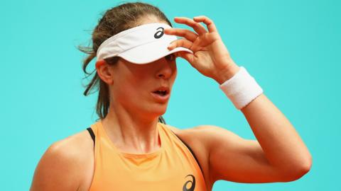 Johanna Konta shows her emotions against Magdalena Rybarikova of Slovakia in their first round match during day two of the Madrid Open
