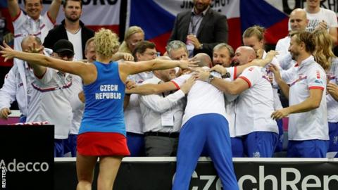 Czechs lead defending champ U.S. 2-0 in Fed Cup final