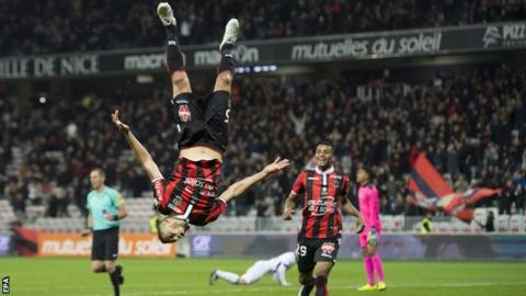 Younes Belhanda celebrates after scoring Nice's second goal against Toulouse - his second goal in two games