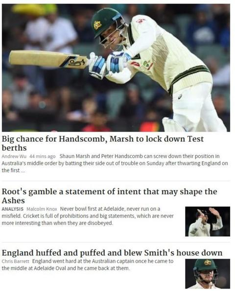 Meanwhile, in the Sydney Morning Herald they preferred to focus on Australia's two batsmen who are not out overnight