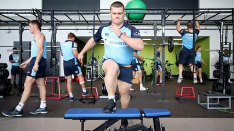 SYDNEY, AUSTRALIA - JULY 06: Tom Robertson of the Waratahs performs a drill during a Waratahs Super Rugby training session at Allianz Stadium on July 6, 2018 in Sydney, Australia. (Photo by Cameron Spencer/Getty Images)