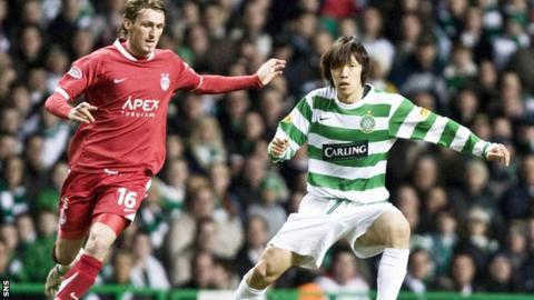 Lee Miller (left) was on the winning side for Aberdeen against Celtic
