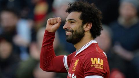 Mohammed Salah celebrates