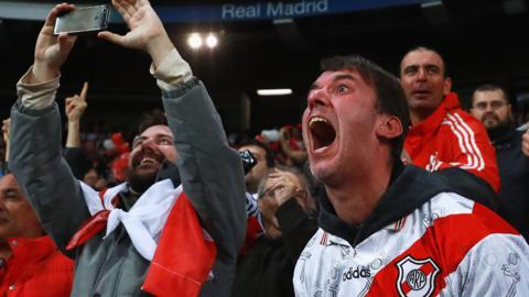 River Plate fans celebrate in the stands