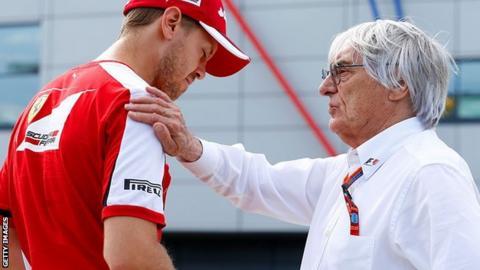 Sebastian Vettel and Bernie Ecclestone