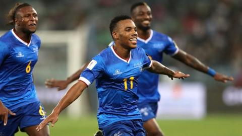 Cape Verde's Garry Rodrigues celebrates one of his goals against South Africa