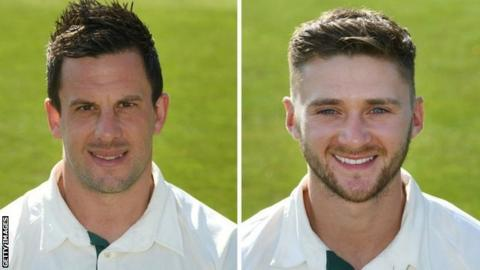 Nottinghamshire's two centurions Steven Mullaney (left) and Joe Clarke have both now 15 first-class tons