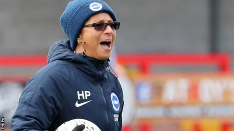 Hope Powell coaches the Brighton players