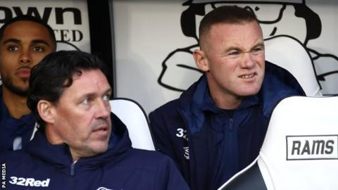 Wayne Rooney makes his first appearance as a Derby coach at Pride Park
