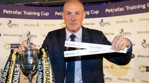Rangers manager Mark Warburton was present at the second-round draw