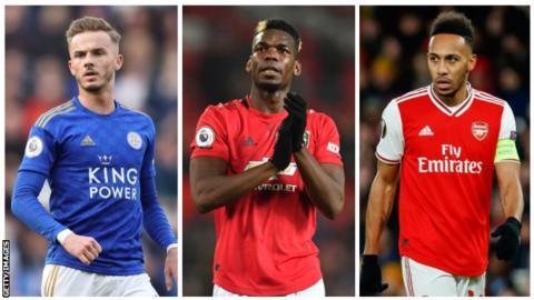 Leicester midfielder James Maddison, Manchester United midfielder Paul Pogba and Arsenal striker Pierre-Emerick Aubameyang