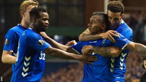 Alfredo Morelos (second right) celebrates Rangers' equaliser