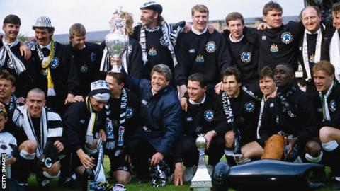 in_pictures Kevin Keegan celebrates with his Newcastle squad after winning the First Division title in 1993