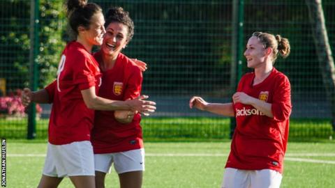 Eve Watson celebrates one of her four goals