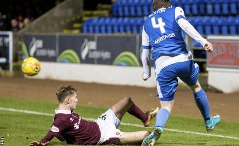 Hearts midfielder Harry Cochrane is sent off for a challenge on St Johnstone's Blair Alston