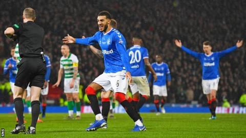 Rangers defender Connor Goldson remonstrates against Celtic