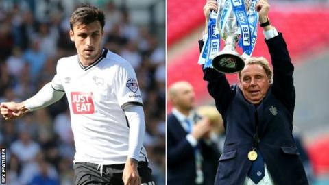 George Thorne in action for Derby (left) and Harry Redknapp celebrates promotion to the Premier League as QPR boss