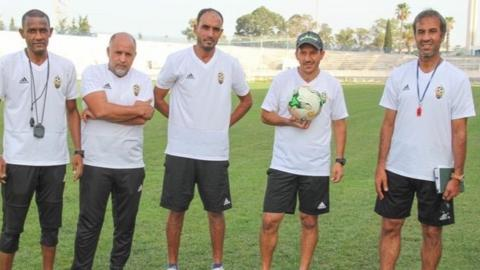 Former Libya coach Jalal Damja (far right) with his coaching team