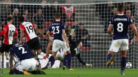 Sofiane Boufal scores for Southampton against West Brom