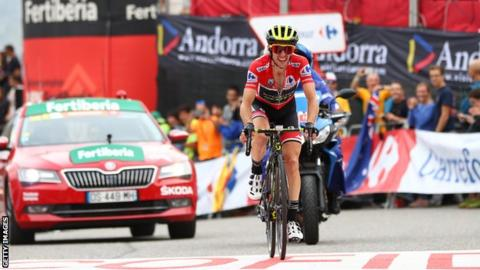 Simon Yates in action in the Vuelta a Espana