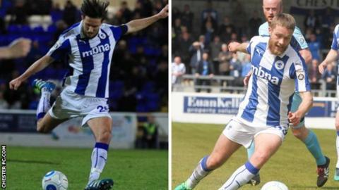 Chester midfielders Lucas Dawson (left) and Liam Davies