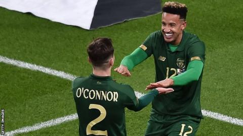 Celtic's Lee O'Connor (left) celebrates with Republic of Ireland