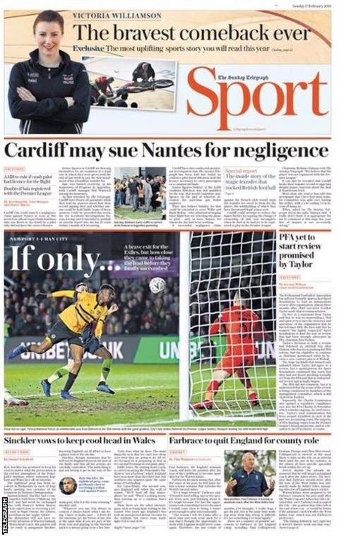 Sunday's Telegraph back page