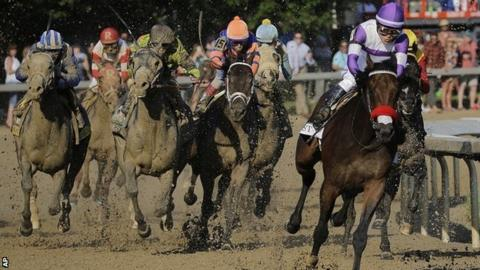 Nyquist leads the field in the Kentucky Derby