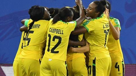 Jamaica celebrate their goal
