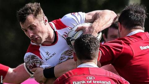 Tommy Bowe in action for Ulster A against their Munster counterparts in Naas on Thursday