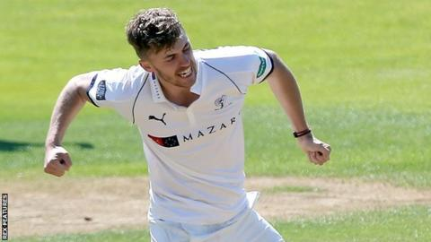 Ben Coad celebrates a wicket