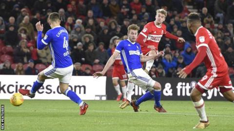 Patrick Bamford scores Middlesbrough's second goal against Ipswich