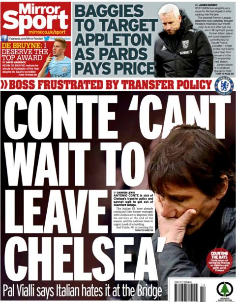 Daily Mirror back page on Tuesday