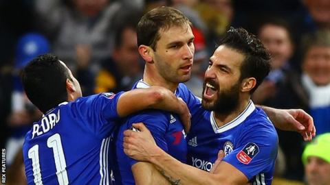Branislav Ivanovic is congratulated by team-mates after scoring against Brentford