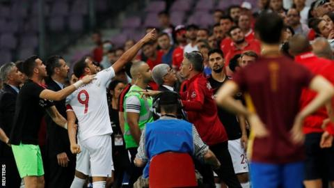 Everton's Cenk Tosun sent off in Turkey v Tunisia match
