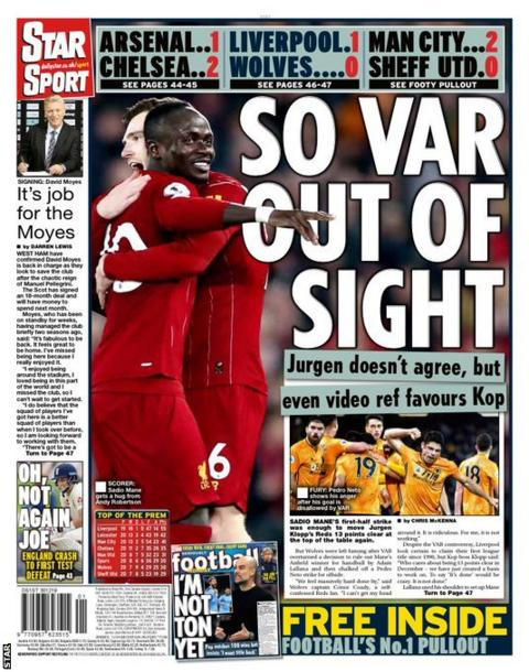 The back page of Monday's Star
