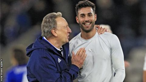 Neil Warnock congratulates Victor Camarasa after his winner at Leicester City on Saturday