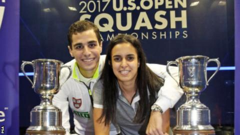 Squash couple Ali Farag and Nour El Tayeb