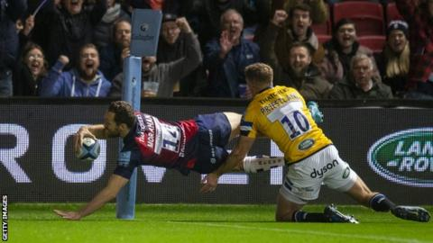 Luke Morahan scored Bristol's first try inside the opening three minutes