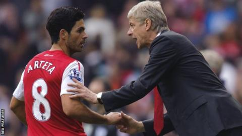 Mikel Arteta and Arsene Wenger during their time together at Arsenal