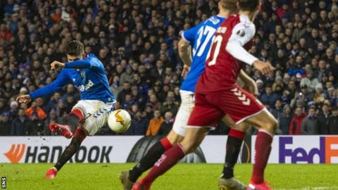 Hagi scored twice in the first leg of Rangers' Europa League last-32 triumph against Braga