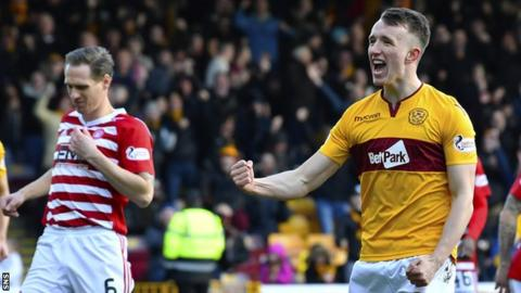 Motherwell midfielder David Turnbull celebrates