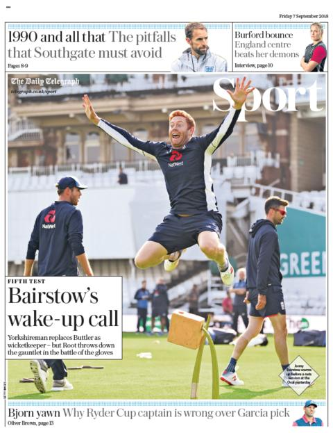 Daily Telegraph sport section on Friday