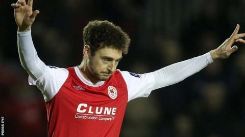 Mark Quigley celebrates scoring for St Pat's last season